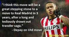 """Depay: """"United Move a Stepping Stone to Real Madrid in 3 Years."""" #Depay #MemphisDepay #ManUnited #ManUtd #MUFC #manchester united #PSV #RealMadrid #DepayManUtd"""