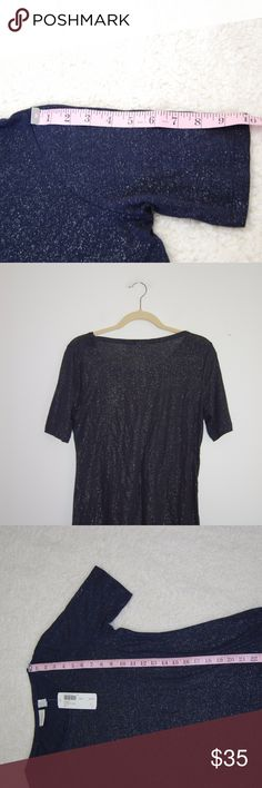 Chicos Lustrous Linen Shimmer Sparkle Blouse 0 NWT Shoulder to hem: 25 Inches. Underarm to underarm: 18.5 Inches. Sleeve length: 10 Inches. Chico's Tops Blouses