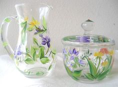 handpainted sugar bowl and creamer by TivoliGardens on Etsy, $30.00