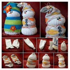 Sock Snowman Easy Tutorial #craft #diy