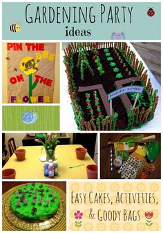Great ideas for a Gardening Theme Birthday Party - cakes, activities, goody bags, & invites!