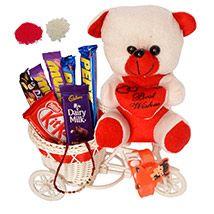 Sweet Rakhi Chocolates with Teddy