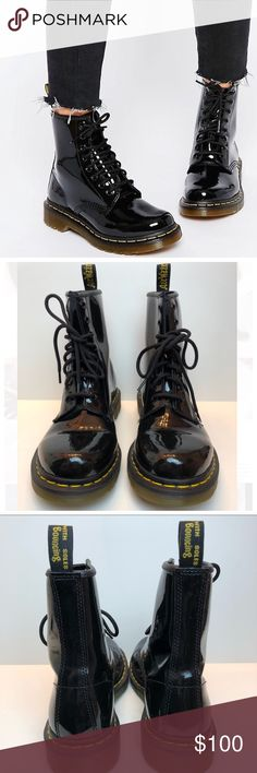 Dr. Martens Black Patent Leather Boots Size 6 Dr. Martens Modern Classics 1460 Black Patent 8 Eyelet Leather Boots Size 6. Classic yellow welt stitching and air cushioned sole. Black patent leather brings some attitude to any day. Only worn a few times. Dr. Martens Shoes Lace Up Boots