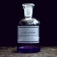 This fabulous A Solution for Everything Etched Apothecary Bottle is a perfect gift idea and looks great in an office, kitchen or bathroom. Designed and etched by the talented Vinegar & Brown Paper. Witch Aesthetic, Character Aesthetic, Ravenclaw, Apothecary Bottles, Making Space, A Series Of Unfortunate Events, Wattpad, Perfume, Decorative Accessories