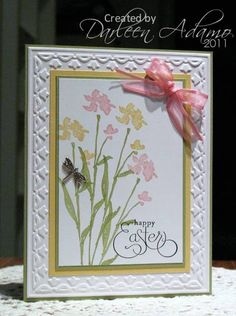 Stamps: The Art of Life, Well Scripted   Paper: Whisper White, Pear Pizzazz, So Saffron   Ink: Pear Pizzazz, So Saffron, Pretty in Pink SU! Markers, Stazon Jet Black   Accessories: Dragonfly brad, organdy ribbon, SU! Tulips EF