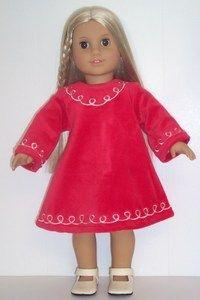 e5f73d6bc8db Dori's Doll Boutique - 85781L-RED VELOUR DRESS W/EMBROIDERED TRIM, $12.49 (  · 18 Inch ...