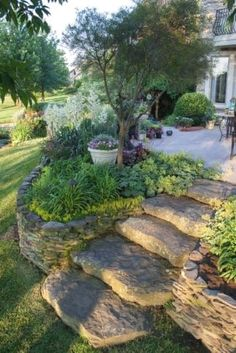 I promise you that the benefits of having a sloped backyard are more then a simple plants displaying! Make an amazing landscape in your backyard instantly! #Landscaping Design Ideas
