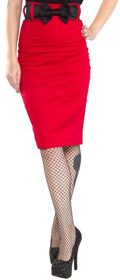 SWITCHBLADE STILETTO BOW WAIST SKIRT RED Show off them curves in the Switchblade Stiletto Bow skirt! This cherry red hi-waist little number features a classic pencil skirt body, zips up the back & comes with a removable stretch bow belt. $52.00 #switchbladestiletto #highwaisted #pencilskirt #bow #pinup #rockabilly #vinatge #retro