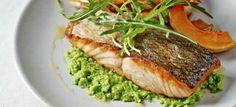 Salmon with Pea Puree & Roasted Butternut