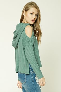 Hooded Open-Shoulder Top - Hoodies + Sweatshirts - 2000267919 - Forever 21 EU English