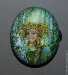 Купить Берёзонька Белая... - разноцветный, лаковая миниатюра, живопись маслом, авторская ручная работа, Федоскино