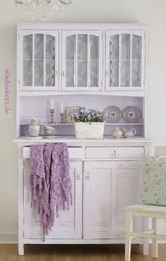 Vintage Cabinet - painted lilac, with lace panels in the glass doors - Cabinet LeLe - sin live heart - give - creatives