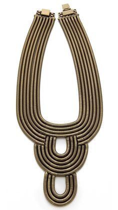 gold + black bib necklace