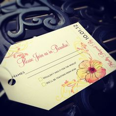 Pink & Green Tropical Boarding Pass Invitation Suite with Watercolor Hibiscus Flower and luggage tag RSVP. http://www.facebook.com/BelleImpressions