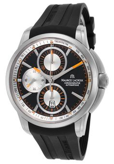 a148a653589 Men s Pontos Chrono Automatic Black Rubber Silver-Tone Dial from World of  Watches