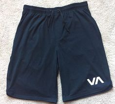 RVCA Men's Black Below Knee Drawstring Athletic Sweat Shorts ~EUC~ Size Medium | eBay