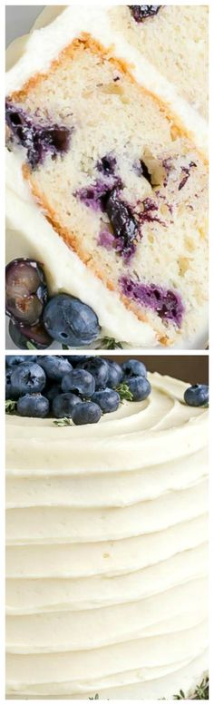 Blueberry Banana Cake ~ The delicious combination of bananas and blueberries gets paired with a tangy cream cheese frosting