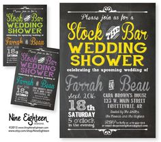 Stock The Bar Wedding Shower Party Invitation. Custom Printable PDF/JPG. I design, you print. Made to Match add ons available.