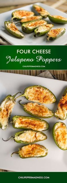 Four Cheese Jalapeno Poppers. This is an easy party appetizer. A crowd pleaser. ChiliPepperMadness.com