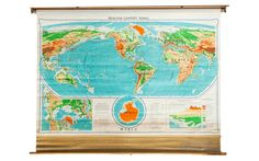 Vintage Denoyer Geppert World Pull Down Map - Old New House® Pull Down Map, Wall Maps, Vintage Walls, Old And New, Vintage World Maps, Vibrant Colors, Art Pieces, New Homes, Mid Century