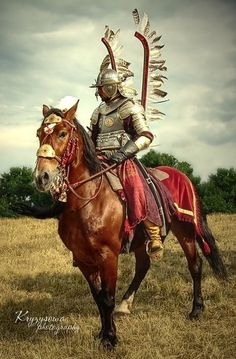 "knight-of-the-nation: "" Polish Winged Hussar. Last Knights, Medieval Armor, Fantasy Warrior, Knights Templar, Military Art, 17th Century, Fantasy Characters, Fiction, Horses"