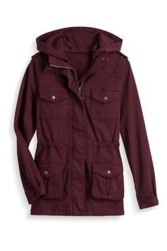 I like that it has a hood; don't like the pockets and grommets/hardware on the pockets. Like the color.