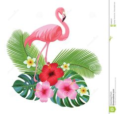 Tropical Composition And Flamingo. Stock Vector - Illustration of composition, flamingo: 94662227 Flamingo Vector, Flamingo Art, Images Noêl Vintages, Flamingo Illustration, Deco Jungle, Hawaiian Party Decorations, Flamingo Wallpaper, Flamingo Birthday, Decoupage Vintage