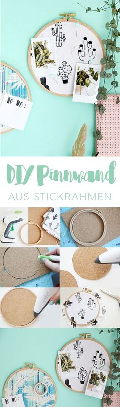 Kreative DIY-Idee zum Selbermachen: Pinnwand aus Kork, Stickrahmen und Stoff ganz einfach selbstgemacht | DIY Geschenk | DIY Deko | Do it Yourself Pinnwand