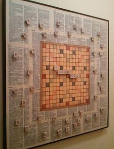 Scrabble Message Board •Scrabble game, glue, magnets, vintage dictionary, board with frame •Tutorial