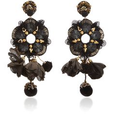 Ranjana Khan Black Tulle Crystal Flower Earrings (10 640 UAH) via Polyvore featuring jewelry, earrings и black