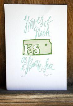 Kansas State Series-Letterpress Print. $15.00, via Etsy.