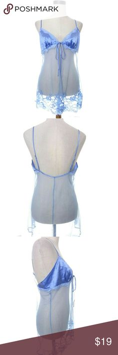 Victoria's Secret Babydoll Fly Away Medium Lavender purple baby doll with split front Silk upper with nylon mesh tag size Medium adjustable straps front tie closure under bust Nice used condition.  wt3282 Intimates & Sleepwear