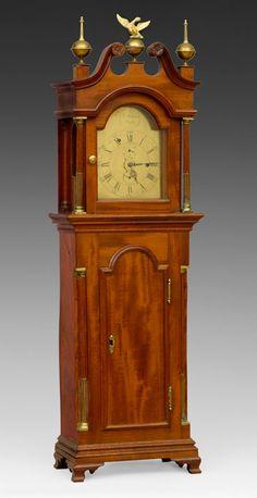 Dwarf Clock, Samuel Mulliken (1764–1846), Salem, MA, 1790, mahogany, pine, brass, steel