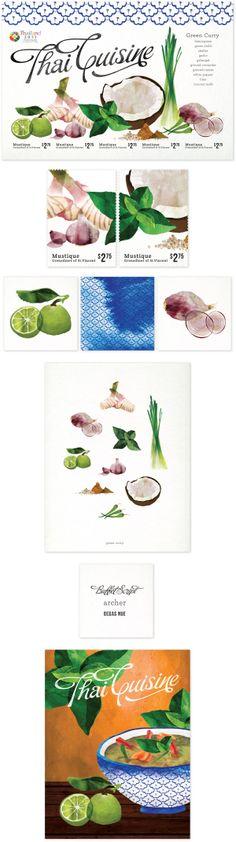 Thai ingredients water colour