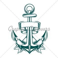 Ancient Anchor With Ribbons For Heraldic Design Tattoo Flash Art ~A.R.