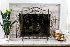 lime washed brick fireplace
