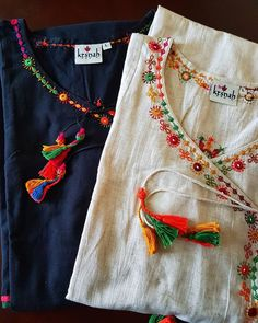 Embroidery On Kurtis, Kurti Embroidery Design, Embroidery Neck Designs, Hand Embroidery Dress, Embroidery On Clothes, Embroidery Suits, Embroidered Clothes, Neckline Designs, Dress Neck Designs