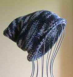 ~~ NEW Mens Womens Unisex Knitted SLOUCHY Beanie HAT Greys Black HANDMADE QLD ~~