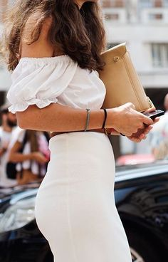 #summer #outfits / white off the shoulder dress
