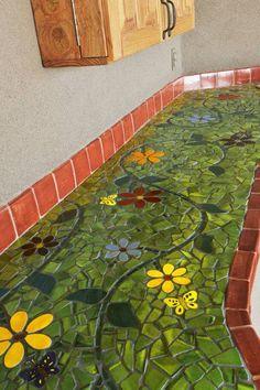 Green mosaic tile countertop