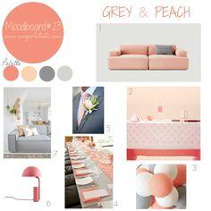 Grey & peach moodboard