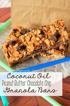 Coconut Oil Peanut Butter Chocolate Chip Granola Bars - These yummy whole food granola bars are made with healthy coconut oil, peanut butter, honey, oats, and chocolate chips! Ready for lunch boxes!