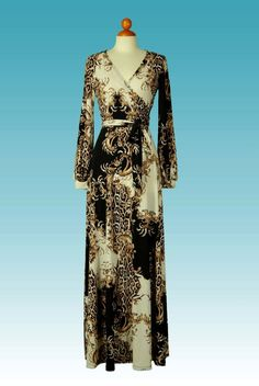 Venetian safari long closed cuff sleeve maxi wrap dress  - product images  of