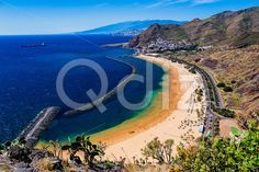 Qdiz Stock Photos | Beach Las Teresitas in Tenerife Canary, Spain,  #aerial #Atlantic #beach #blue #breakwater #Canary #coast #coastline #Cruz #island #landscape #Las #mountain #nature #ocean #playa #Santa #sea #shore #sky #Spain #spring #summer #Tenerife #Teresitas #view #water #yellow