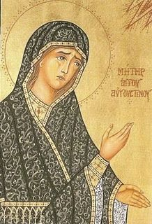 """If anyone does not believe that Holy Mary is the Mother of God, such a one is a stranger to the Godhead. Gregory of Nazianzus Catholic Art, Catholic Saints, Patron Saints, Religious Images, Religious Icons, Religious Art, Santa Monica, Byzantine Icons, Byzantine Art"