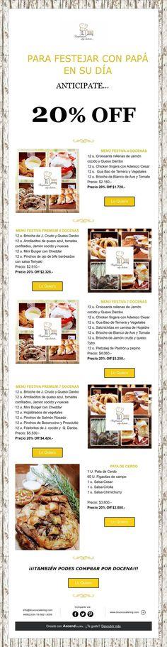 20% Off Para Festejar Con Papá!!! Catering, Catering Business, Gastronomia