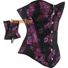 Dark purple floral brocade corset. http://www.discreettiger.com.au/corsets