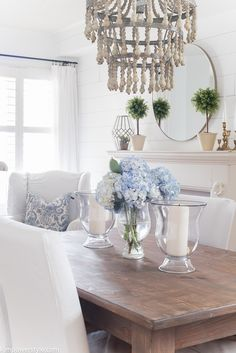Spring Home Tour.  Perfect spring colors with whites and blues.