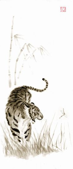 Tiger sumi-e by ~DeepRed1981 on deviantART