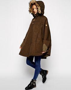 Enlarge Fjallraven Waxed Cape Coat With Fur Trim Hood